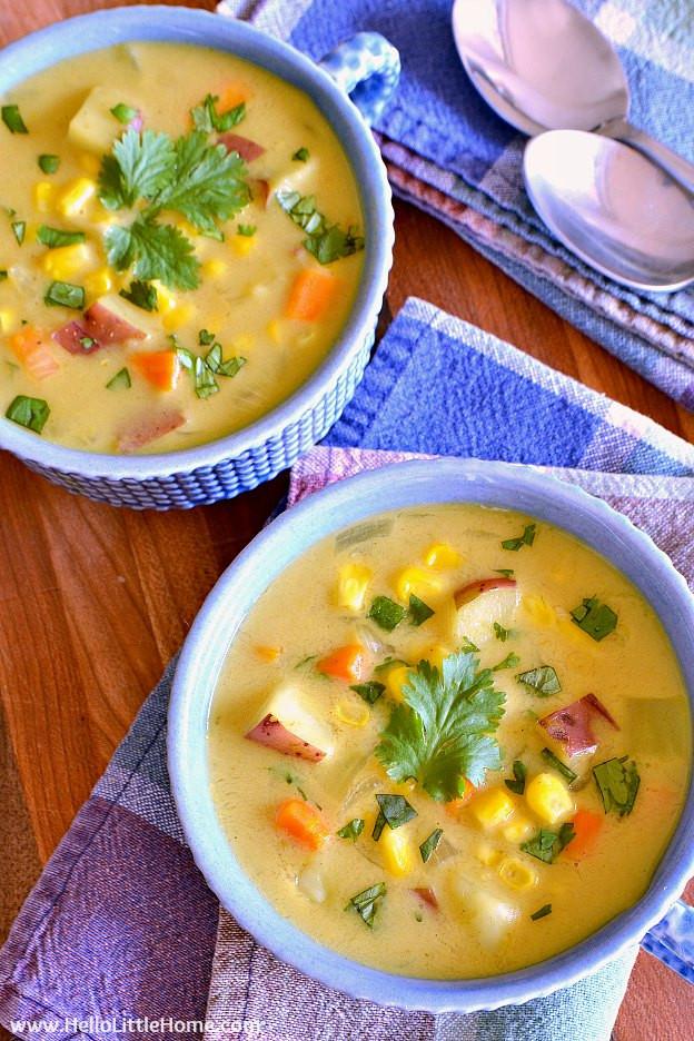 Vegetarian Summer Corn Chowder  Easy Curried Corn Chowder with Coconut Milk