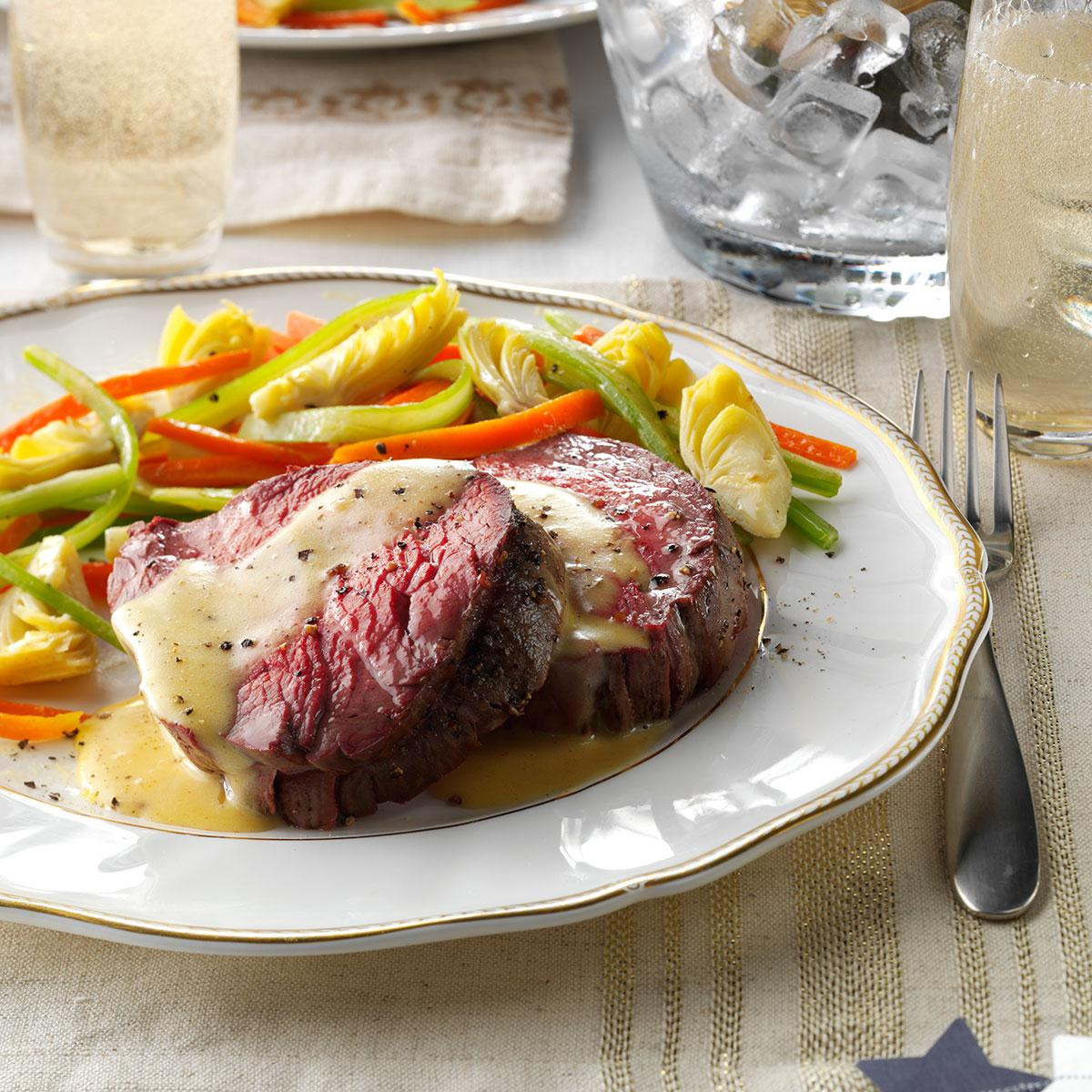Veggies For Easter Dinner  Beef Tenderloin with Sauteed Ve ables Recipe