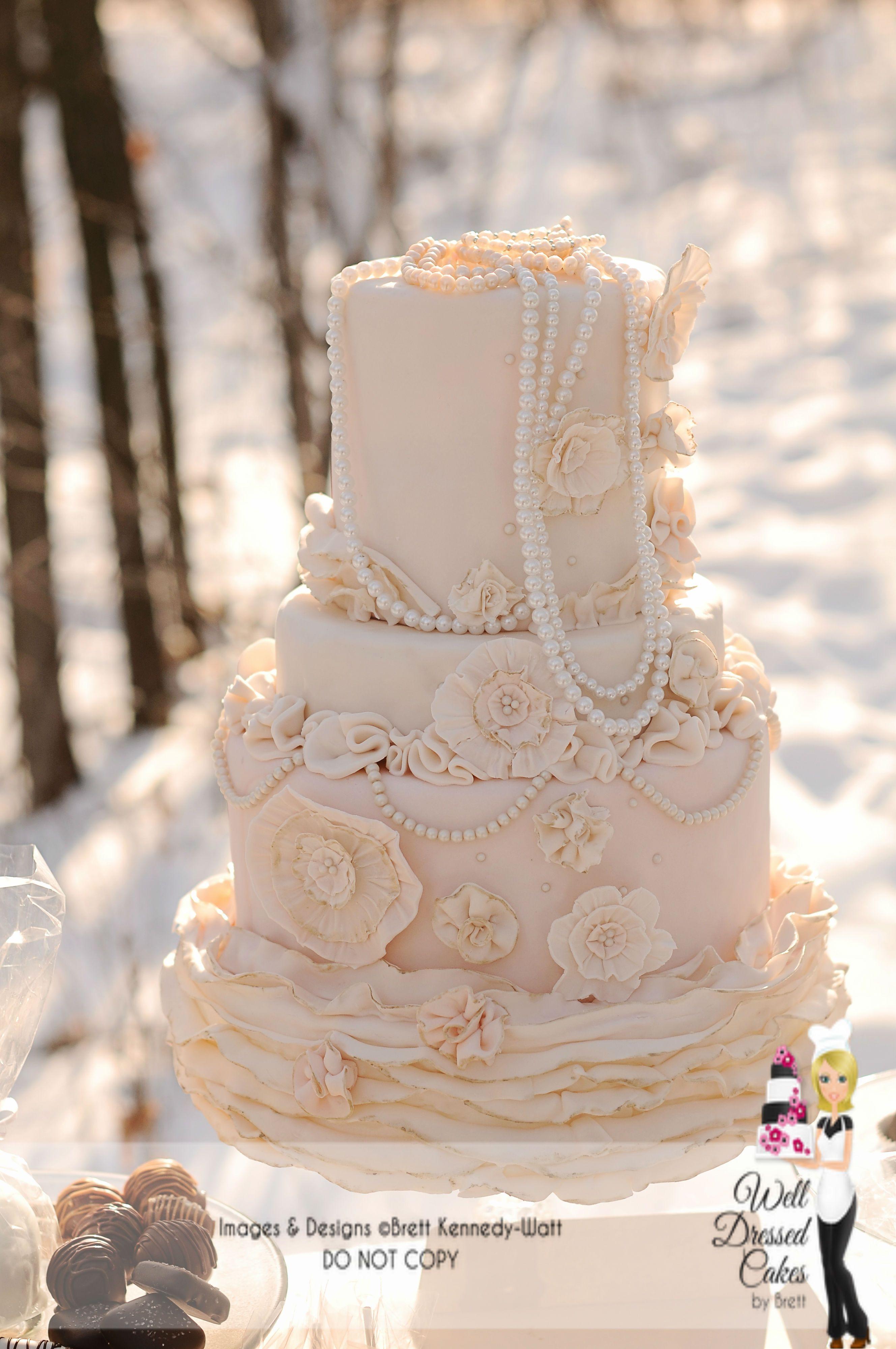 Vintage Wedding Cakes Pictures  Vintage pearl Ruffle wedding cake Ruffled wedding cake