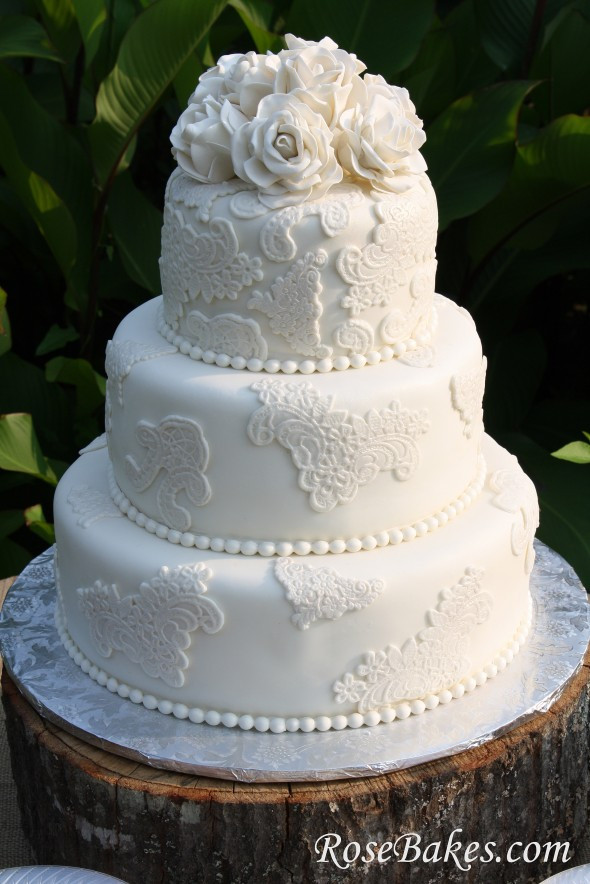 Vintage Wedding Cakes  Vintage Lace Wedding Cake with Sugar Roses