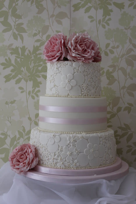 Walmart 3 Tier Wedding Cakes  A three tier wedding cake with 2 embossed tiers and