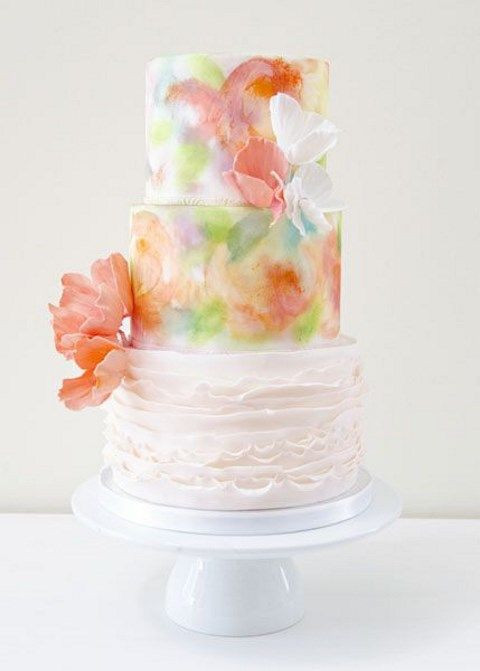 Watercolor Wedding Cakes  53 Watercolor Wedding Cakes That Really Inspire