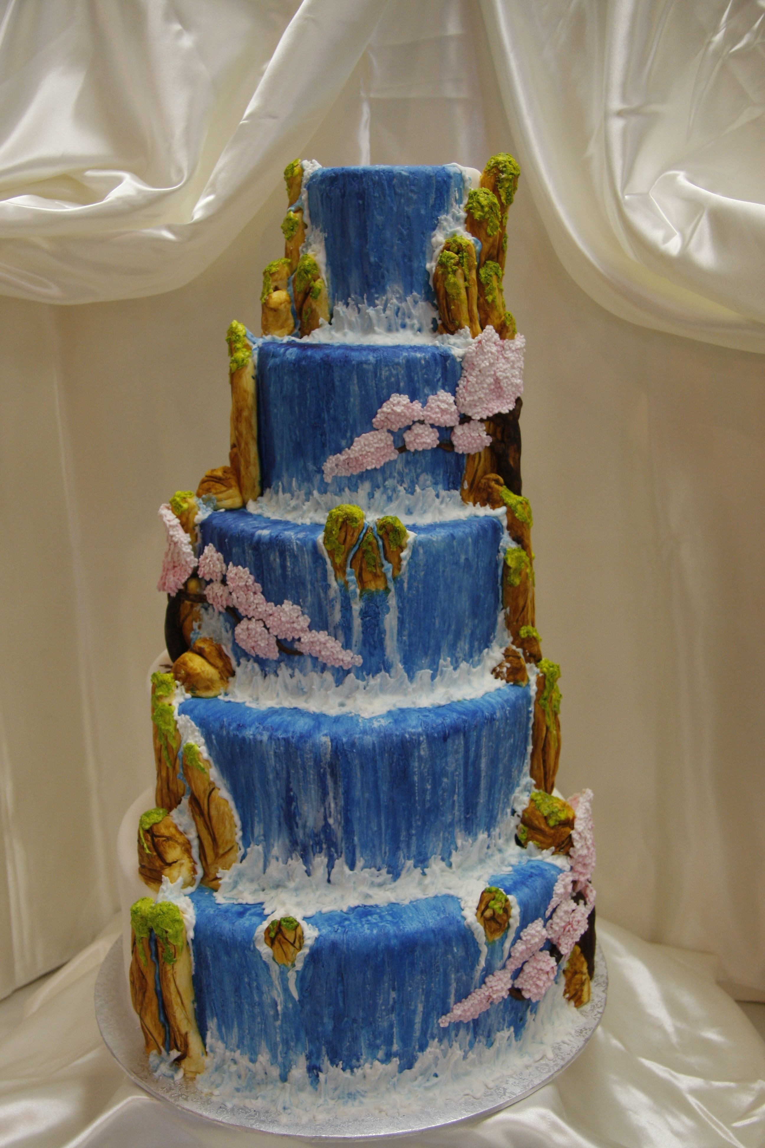 Waterfalls Wedding Cakes  Hand crafted and hand painted waterfall and cherry blossom