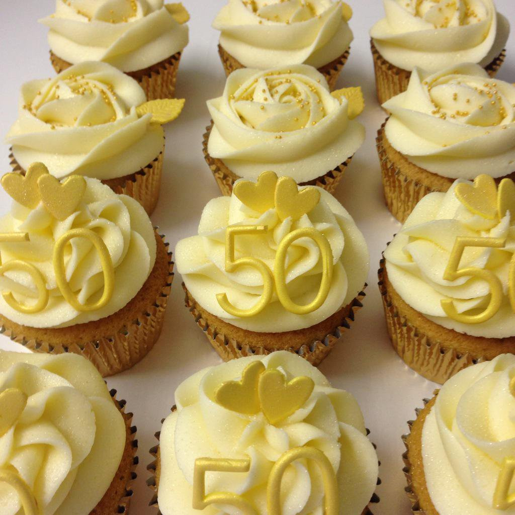 "Wedding Anniversary Cupcakes Ideas  Sarison Cupcakes on Twitter ""50th Golden wedding"