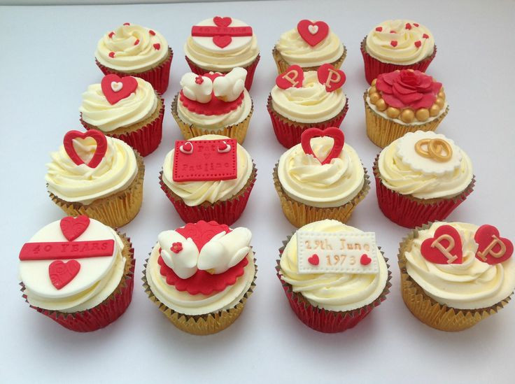 Wedding Anniversary Cupcakes Ideas  40th Wedding Anniversary Cupcakes by Fancy Fondant