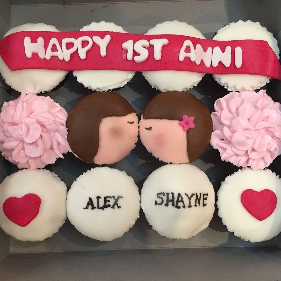 Wedding Anniversary Cupcakes Ideas  1st Wedding Anniversary Cupcakes