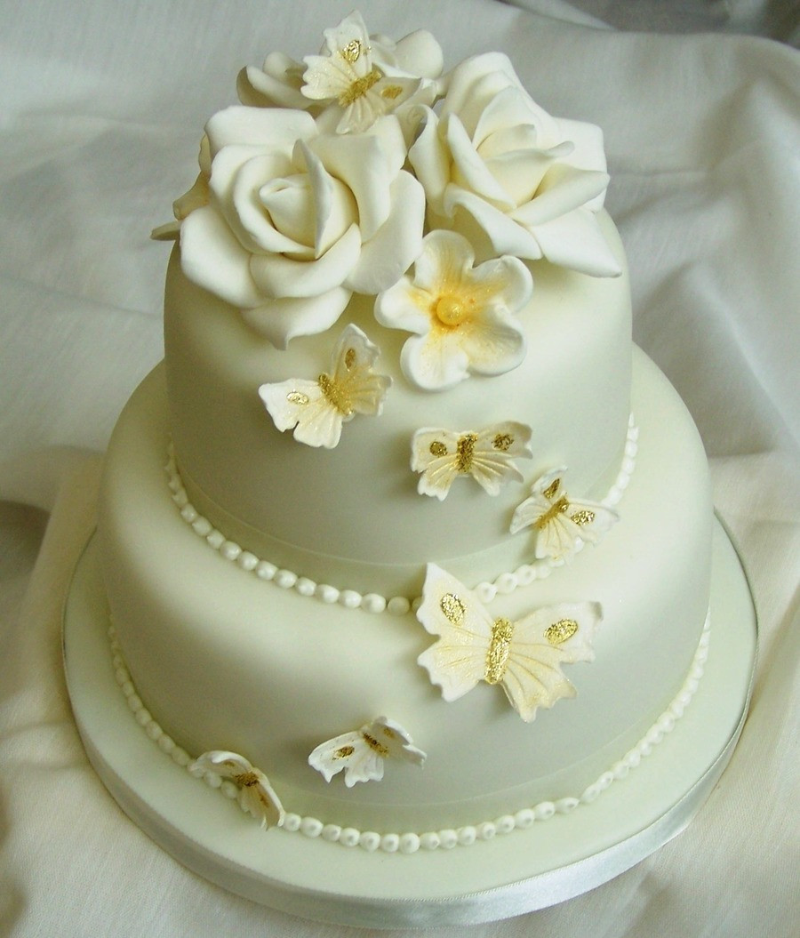 Wedding Birthday Cake  Golden Wedding Cake CakeCentral