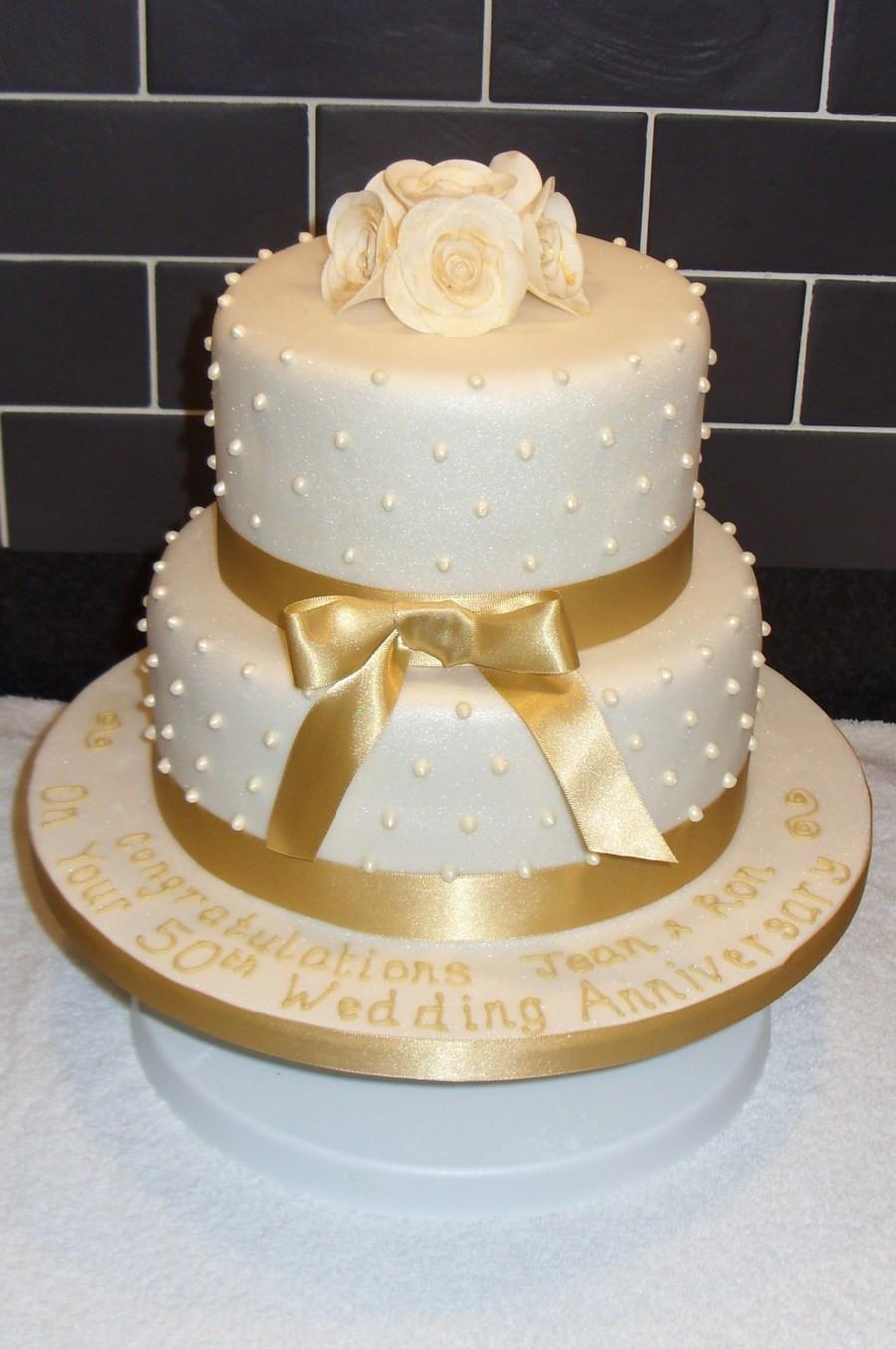Wedding Birthday Cake  Golden Wedding Anniversary Cake CakeCentral
