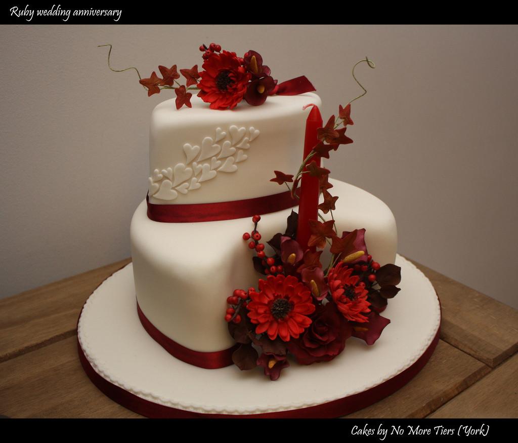 Wedding Birthday Cake  Ruby wedding anniversary cake Autumnal a photo on
