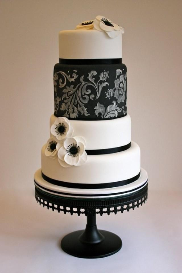 Wedding Cake Black And White  Black And White Wedding Black White Cake Weddbook