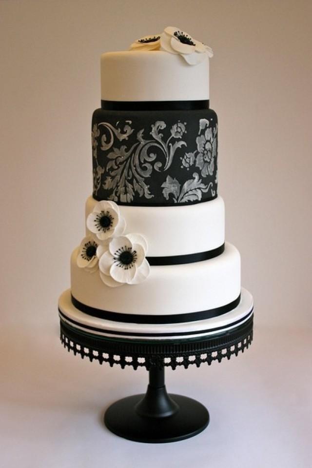 Wedding Cake Black And White  Black And White Wedding Black White Cake Weddbook