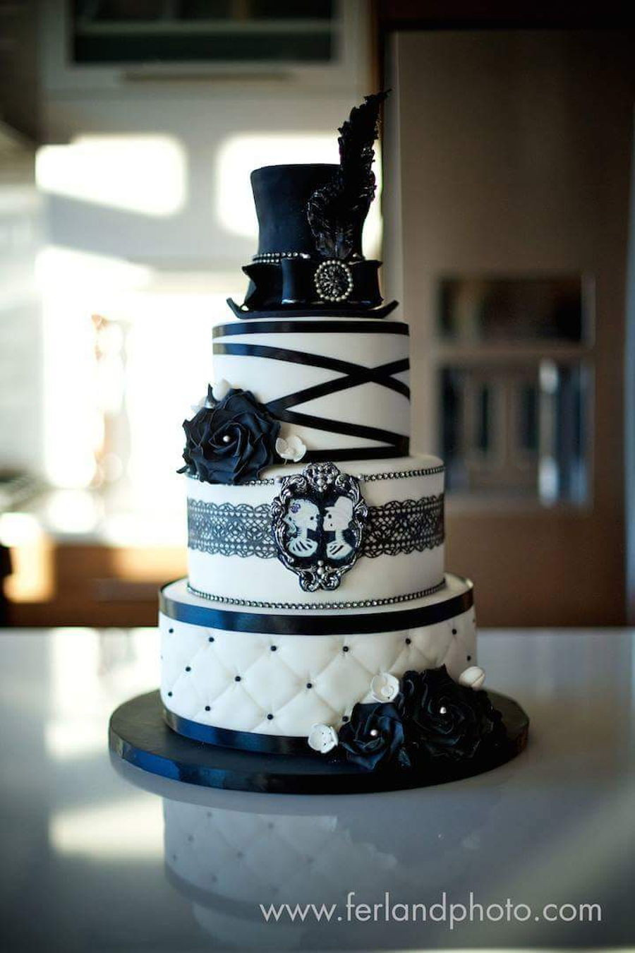 Wedding Cake Black And White  Black And White Wedding Cake CakeCentral