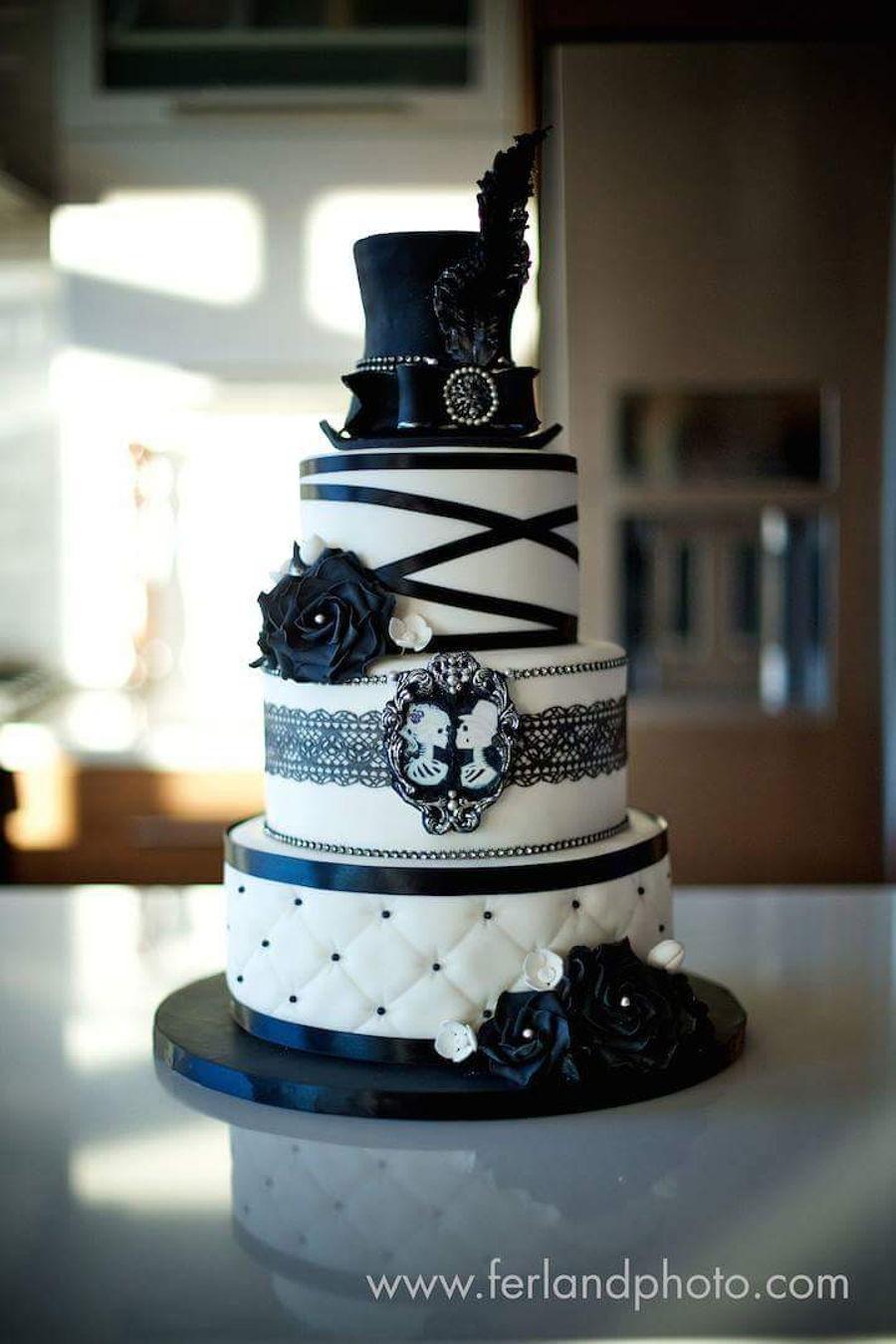 Wedding Cake Black And White  Black And White Wedding Cake CakeCentral