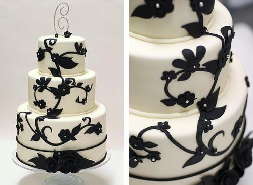 Wedding Cake Black And White  Black and White Wedding Cakes Gallery
