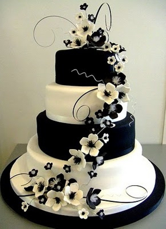 Wedding Cake Black And White  Sweet Black and White Cake with Flowers for Wedding Party