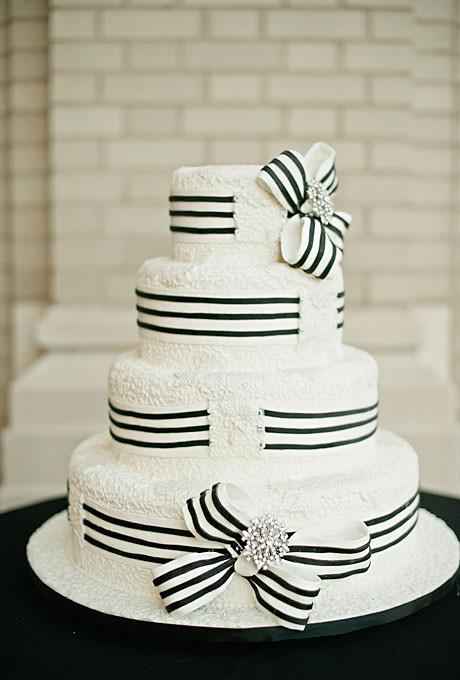 Wedding Cake Black And White  Black and White Ribbon Wedding Cake