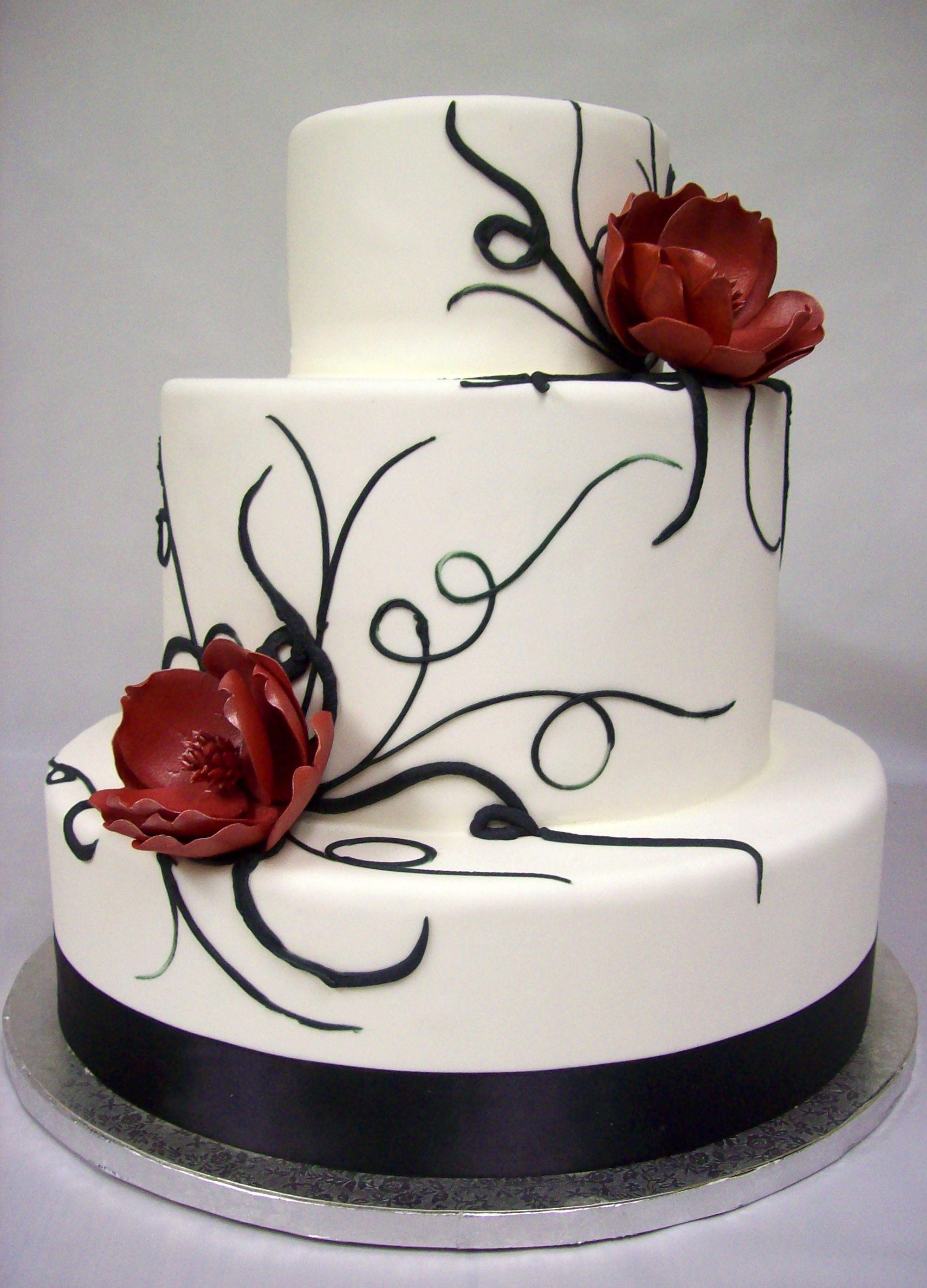 Wedding Cake Black And White  Black And White Wedding Cakes