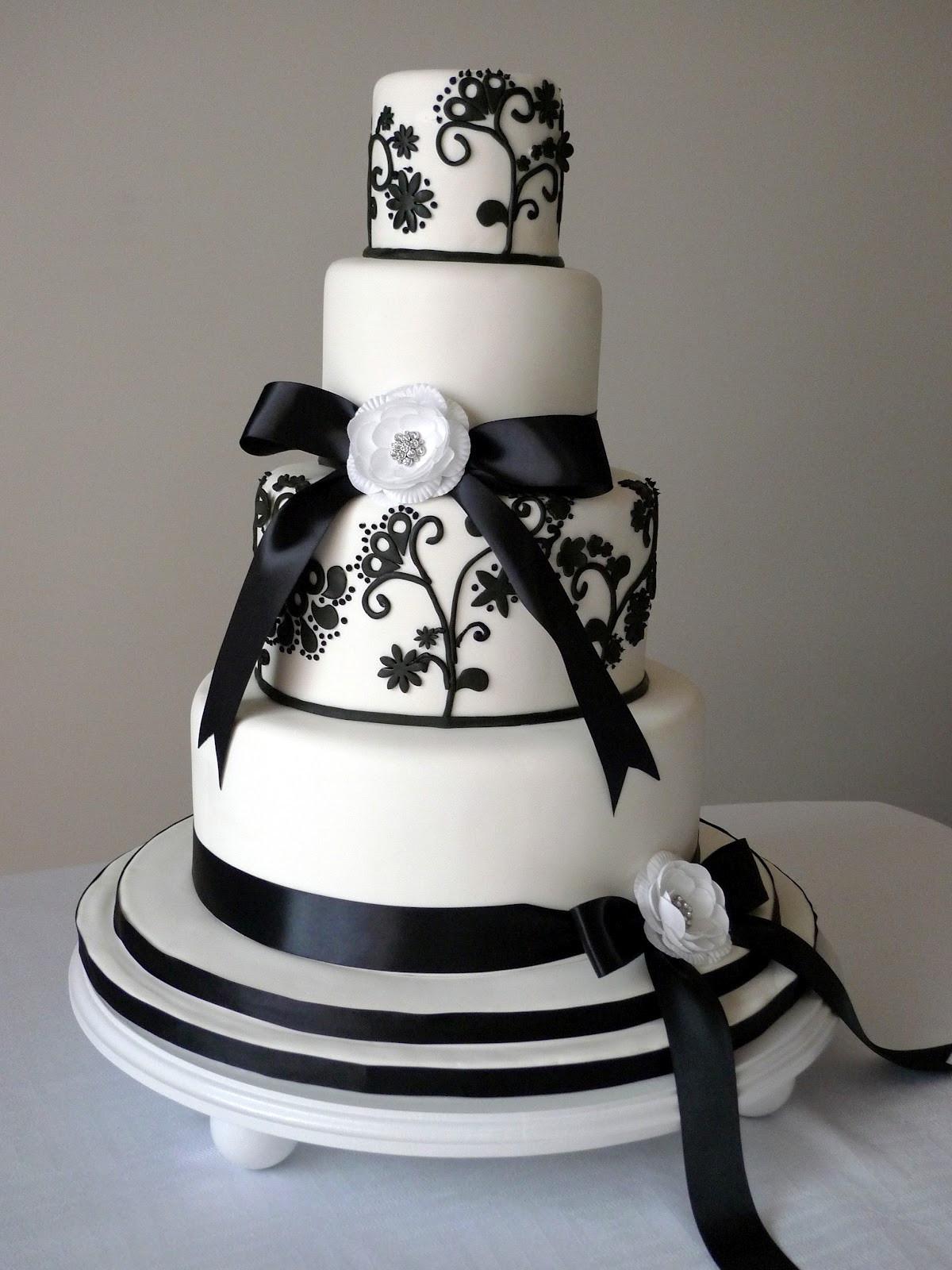 Wedding Cake Black And White  Cakebee Elegant Black & White Wedding Cakes