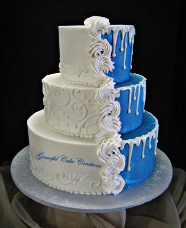 Wedding Cake Blue And White  1 of 10 White Blue Wedding Cake Ideas