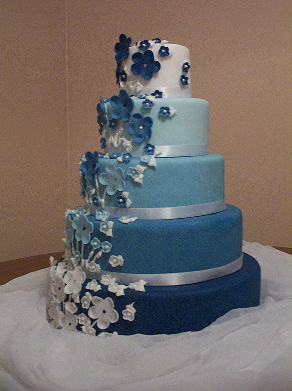 Wedding Cake Blue And White  Cake Place 5 Tier Fading Blue and White Wedding Cake