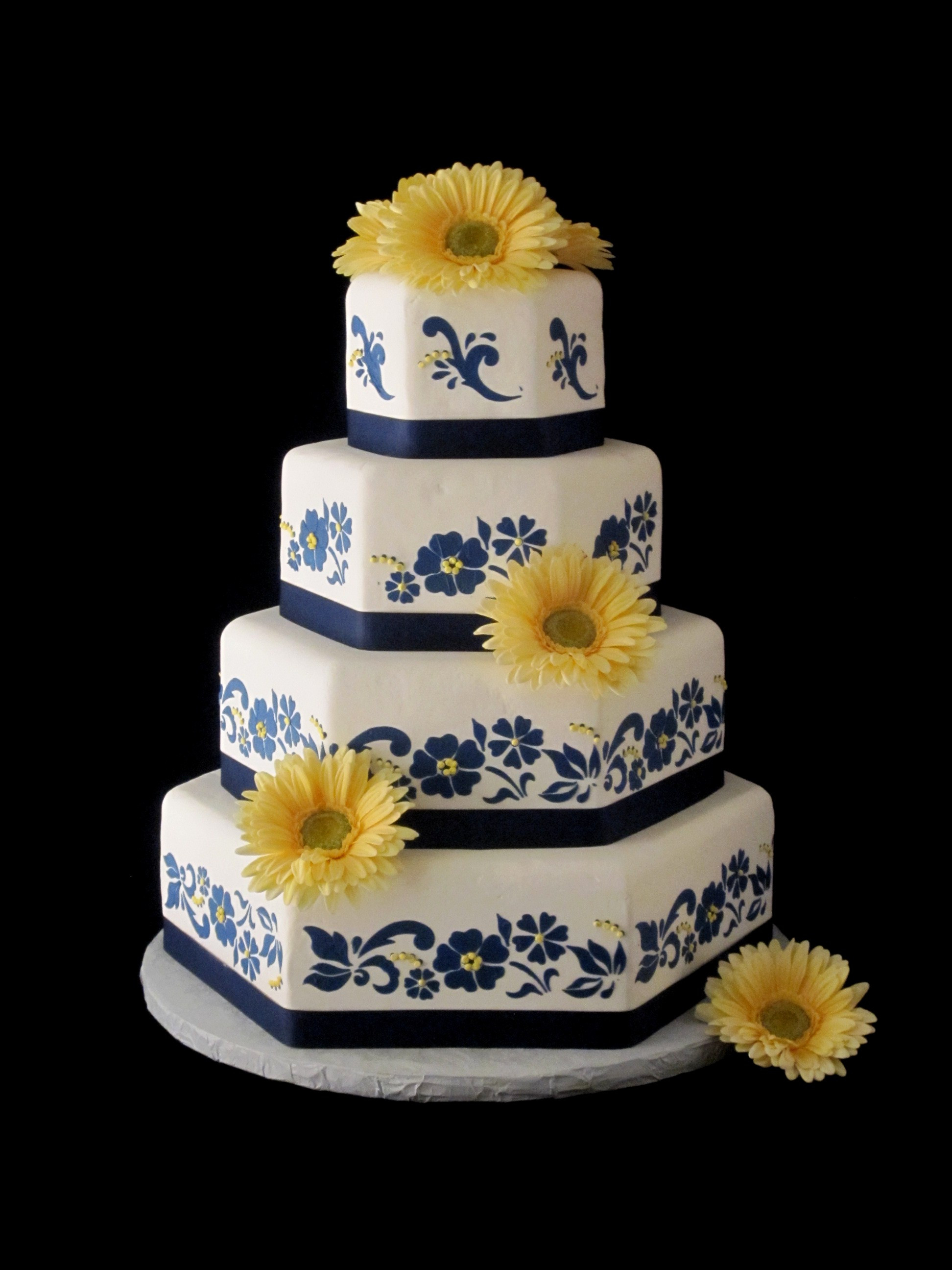 Wedding Cake Blue And White  Wedding Cake Navy Yellow Gerber Daisy Bardstown KY