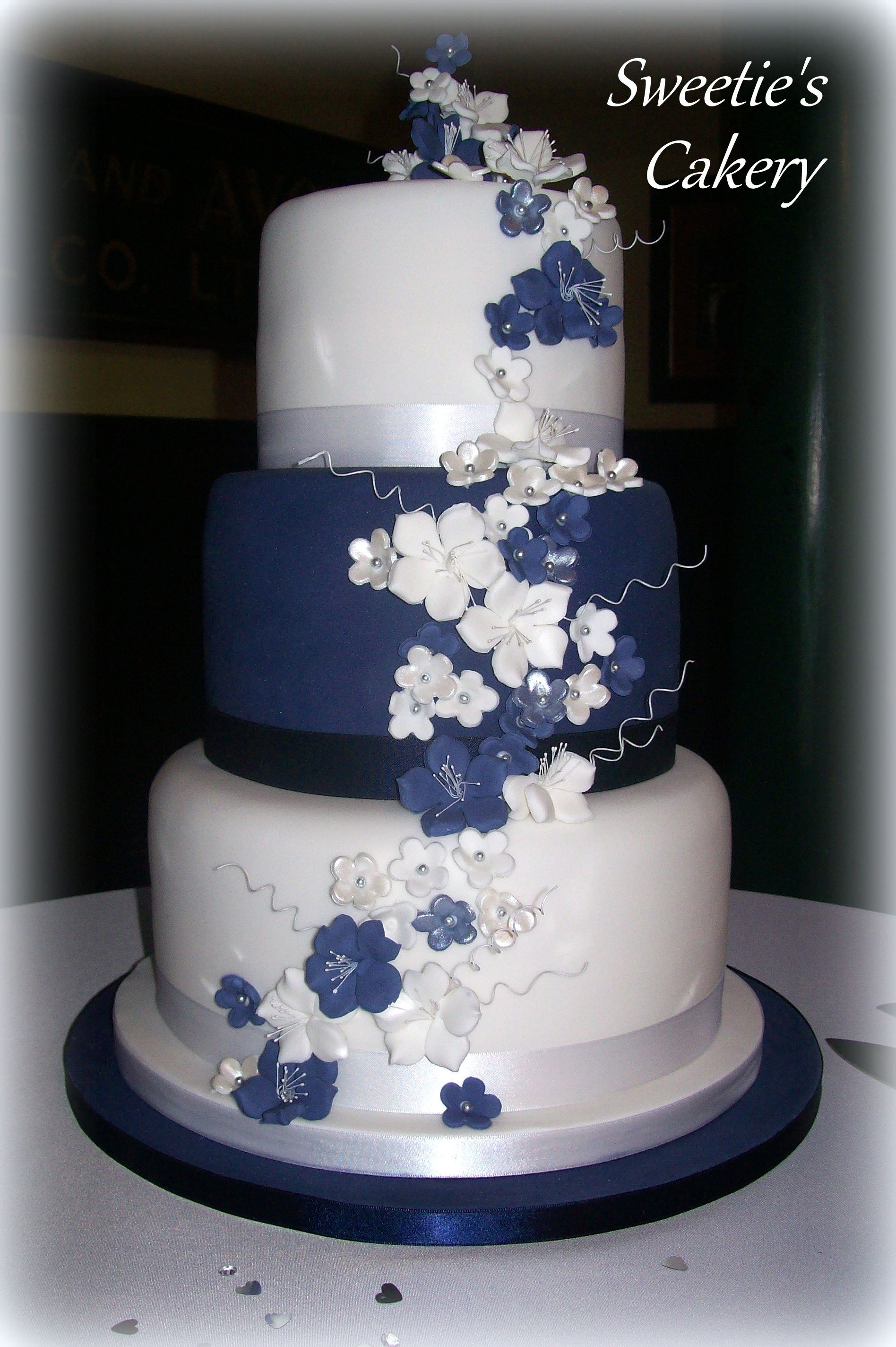 Wedding Cake Blue And White  Navy blue white and