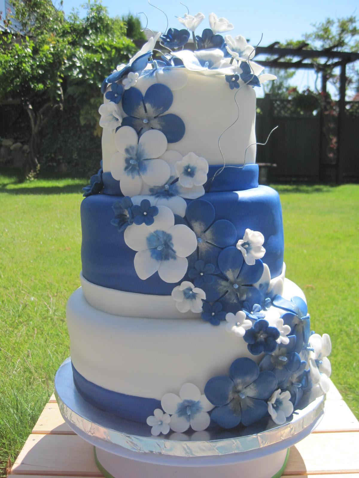 Wedding Cake Blue And White  Blue and White Wedding Cake Mikaila s Cakes
