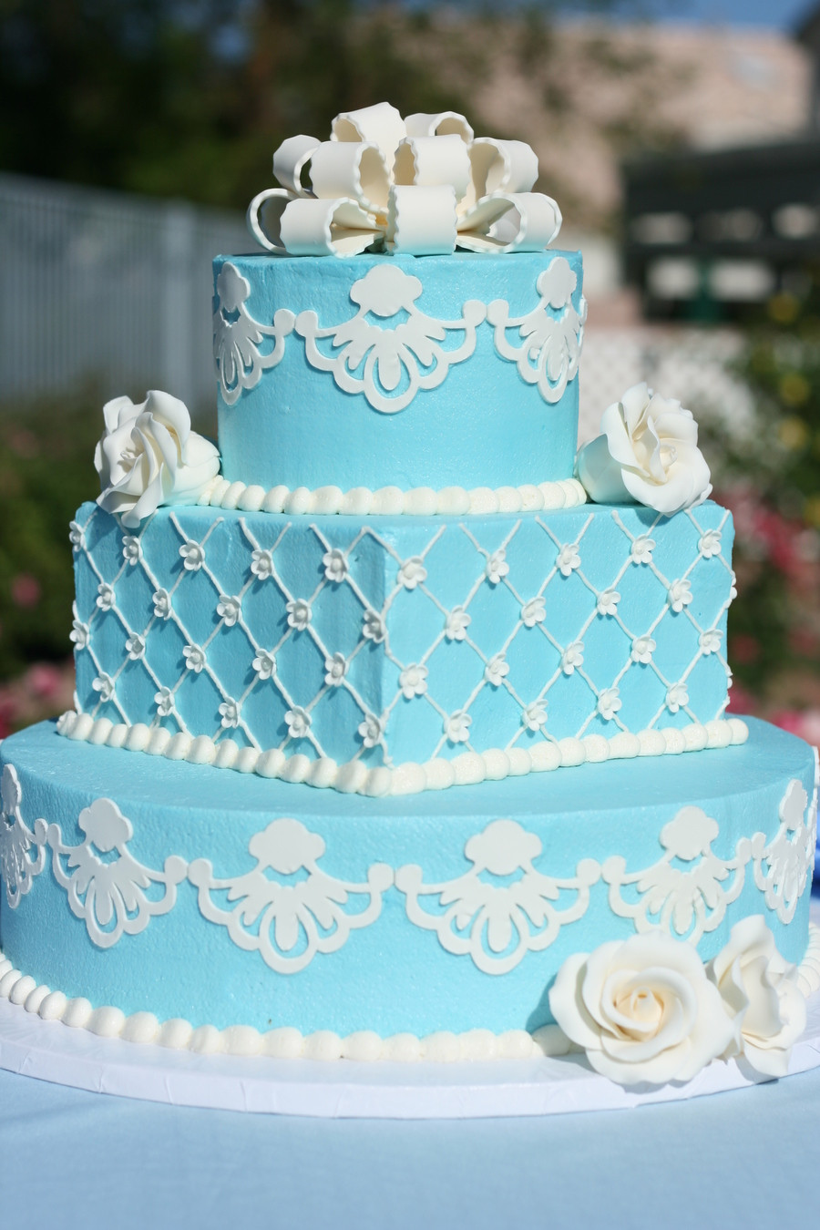 Wedding Cake Blue And White  Blue And White Wedding Cake Vow Renewal CakeCentral