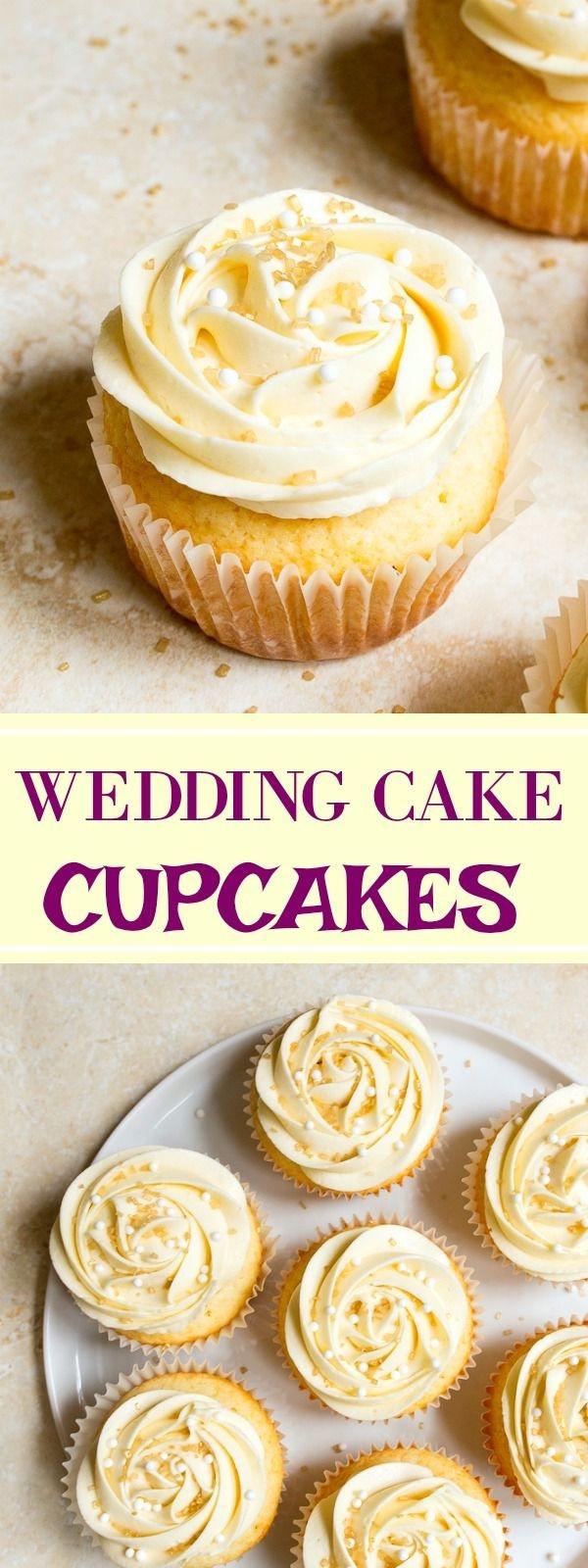 Wedding Cake Cupcakes With Buttercream Frosting  Wedding cupcakes almond wedding cake cupcakes with
