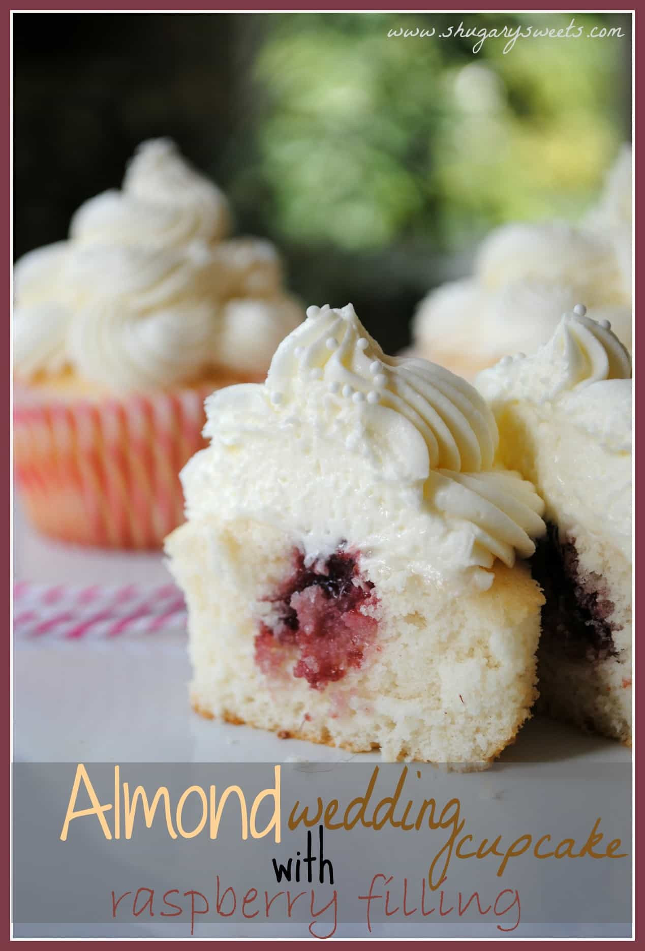 Wedding Cake Filling Recipe  Almond Wedding Cake Cupcakes with Raspberry Filling