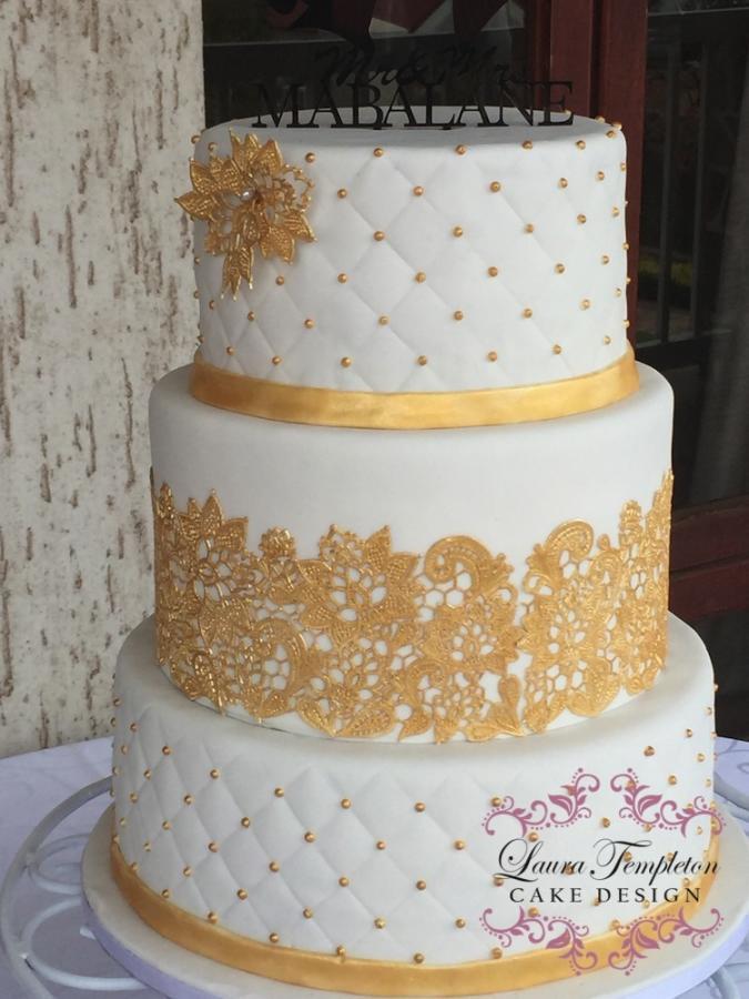 Wedding Cake Gold And White  Gold & White Wedding Cake cake by Laura Templeton