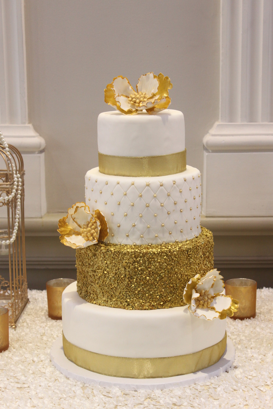 Wedding Cake Gold And White  Gold Glamour Wedding Cake CakeCentral