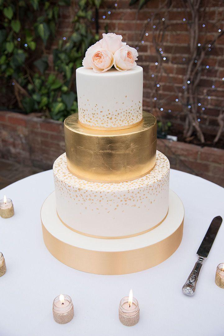 Wedding Cake Gold And White  Best 25 Gold wedding cakes ideas on Pinterest