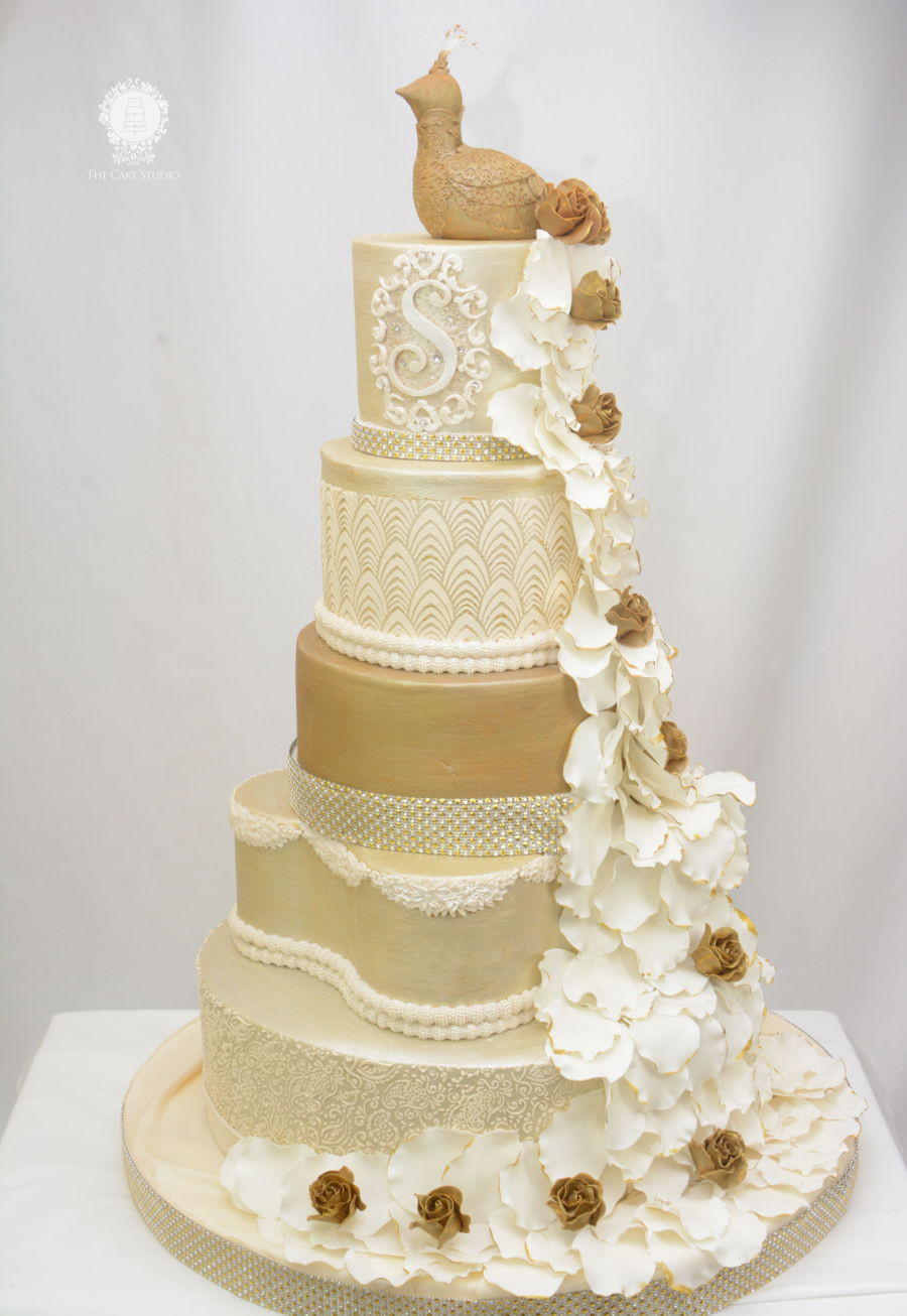 Wedding Cake Gold And White  White Gold And Ivory Peacock Wedding Cake CakeCentral