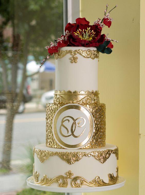 Wedding Cake Gold And White  white indian wedding cake