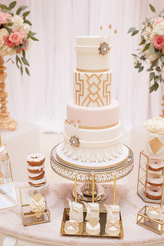 Wedding Cake Gold And White  27 Refined And Bold Art Deco Wedding Cakes Weddingomania