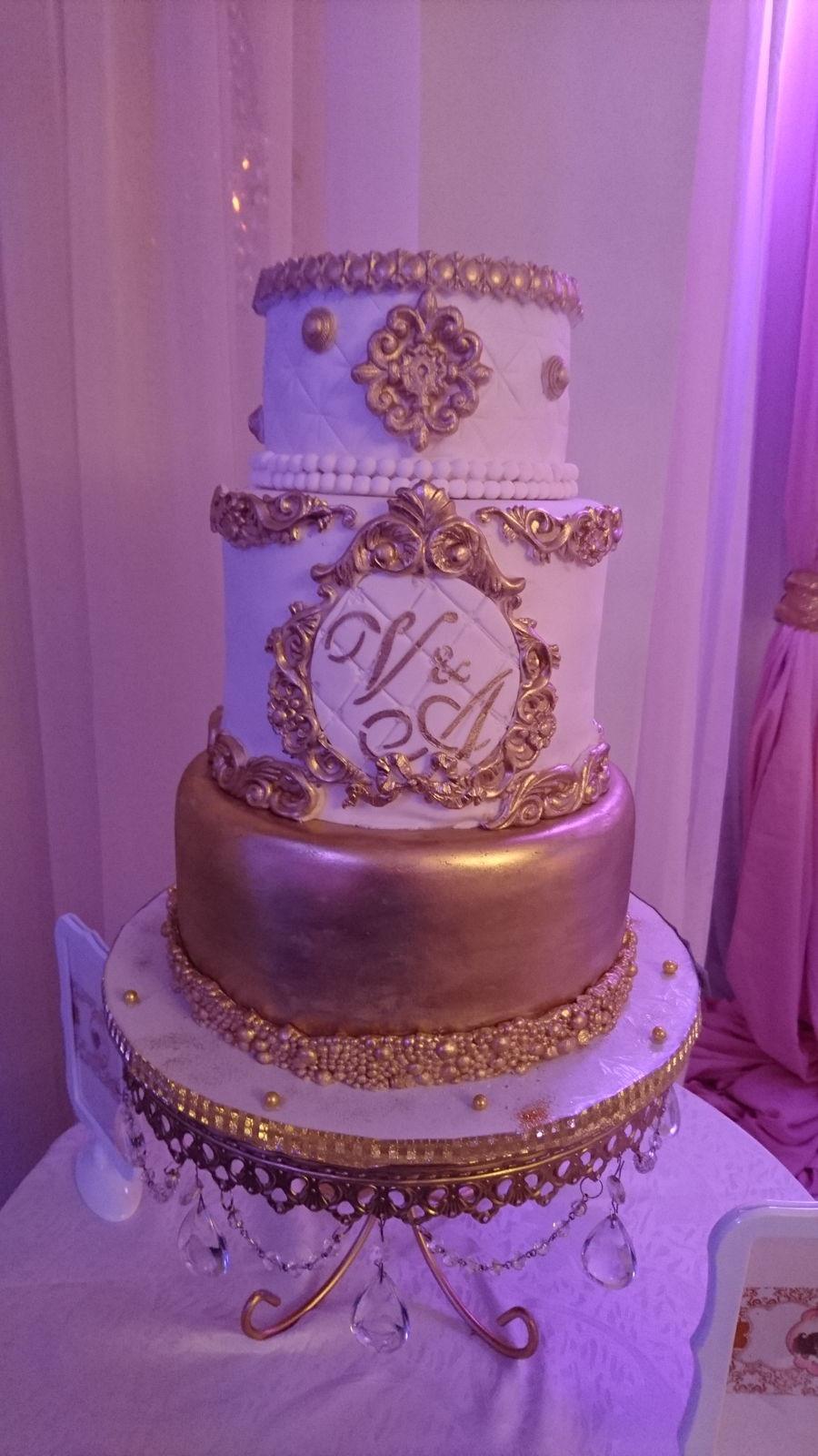 Wedding Cake Gold And White  Elegant Baroque Vintage White & Gold Wedding Cake