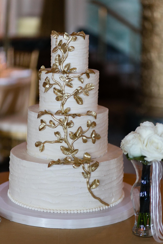 Wedding Cake Gold And White  White Wedding Cake with Gold Leaf Elizabeth Anne Designs