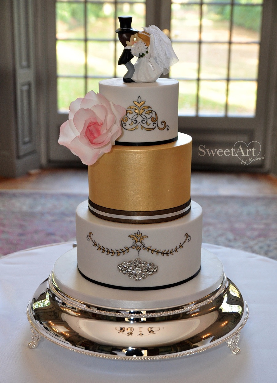 Wedding Cake Gold And White  White And Gold Wedding Cake With Rococo Style Elements
