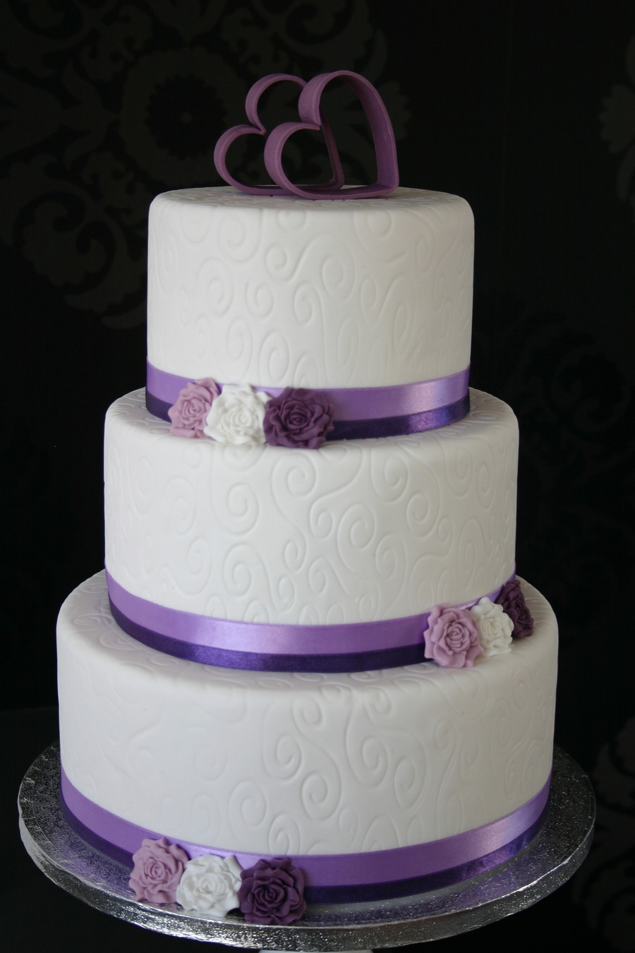 Wedding Cake Purple And White  White Purple Wedding Cake CakeCentral