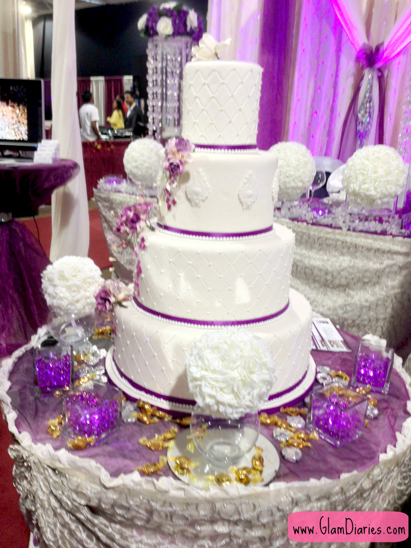 Wedding Cake Purple And White  Suhaag Indian Wedding Exhibition Show and