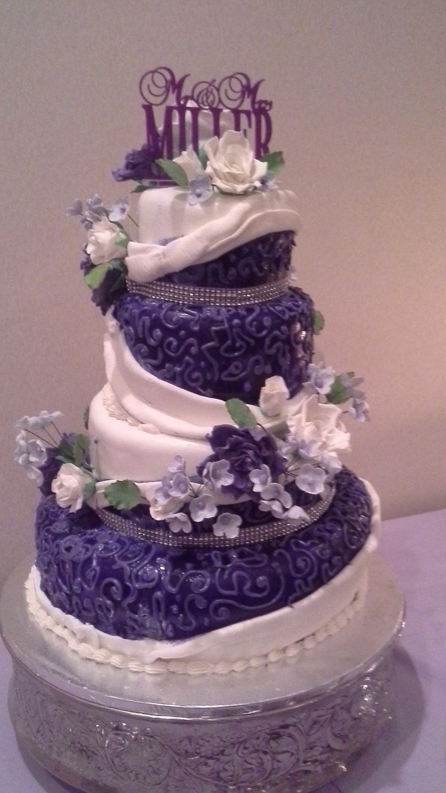 Wedding Cake Purple And White  Purple And White Wedding Cake CakeCentral