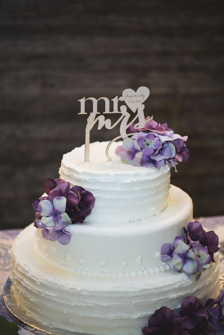 Wedding Cake Purple And White  Two Tier White Wedding Cake With Purple Flowers