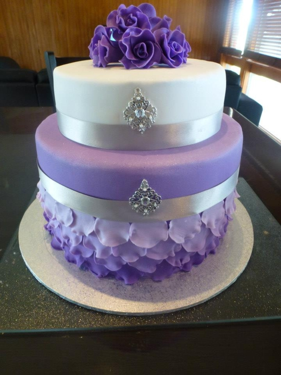 Wedding Cake Purple And White  Purple And White Rose Wedding Cake CakeCentral