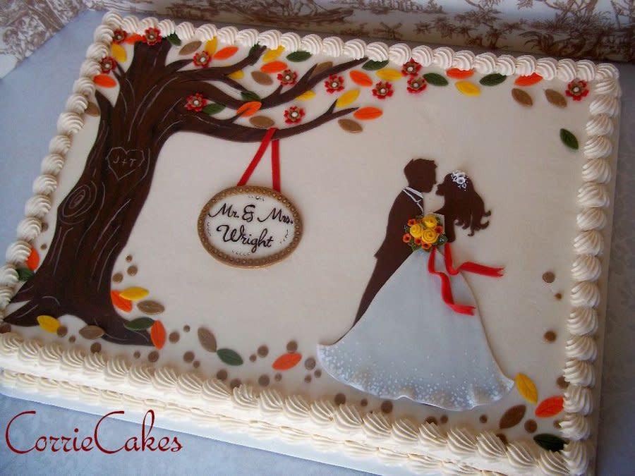 Wedding Cake Sheet Cake  fall wedding sheet cake Cake by Corrie CakesDecor