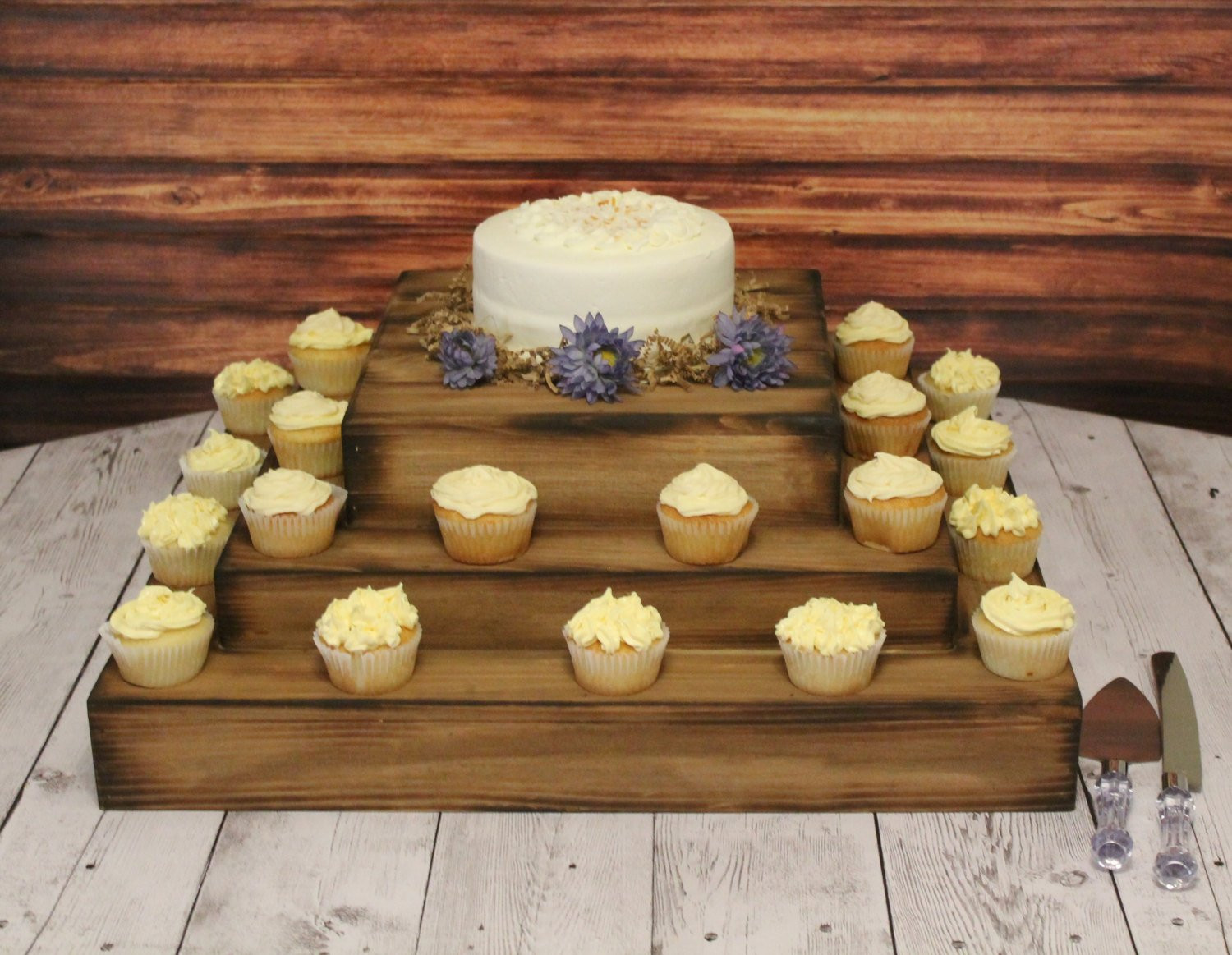 Wedding Cake Stands For Cupcakes  Wedding Wooden Cake and Cupcake Stand Square Riser Bases