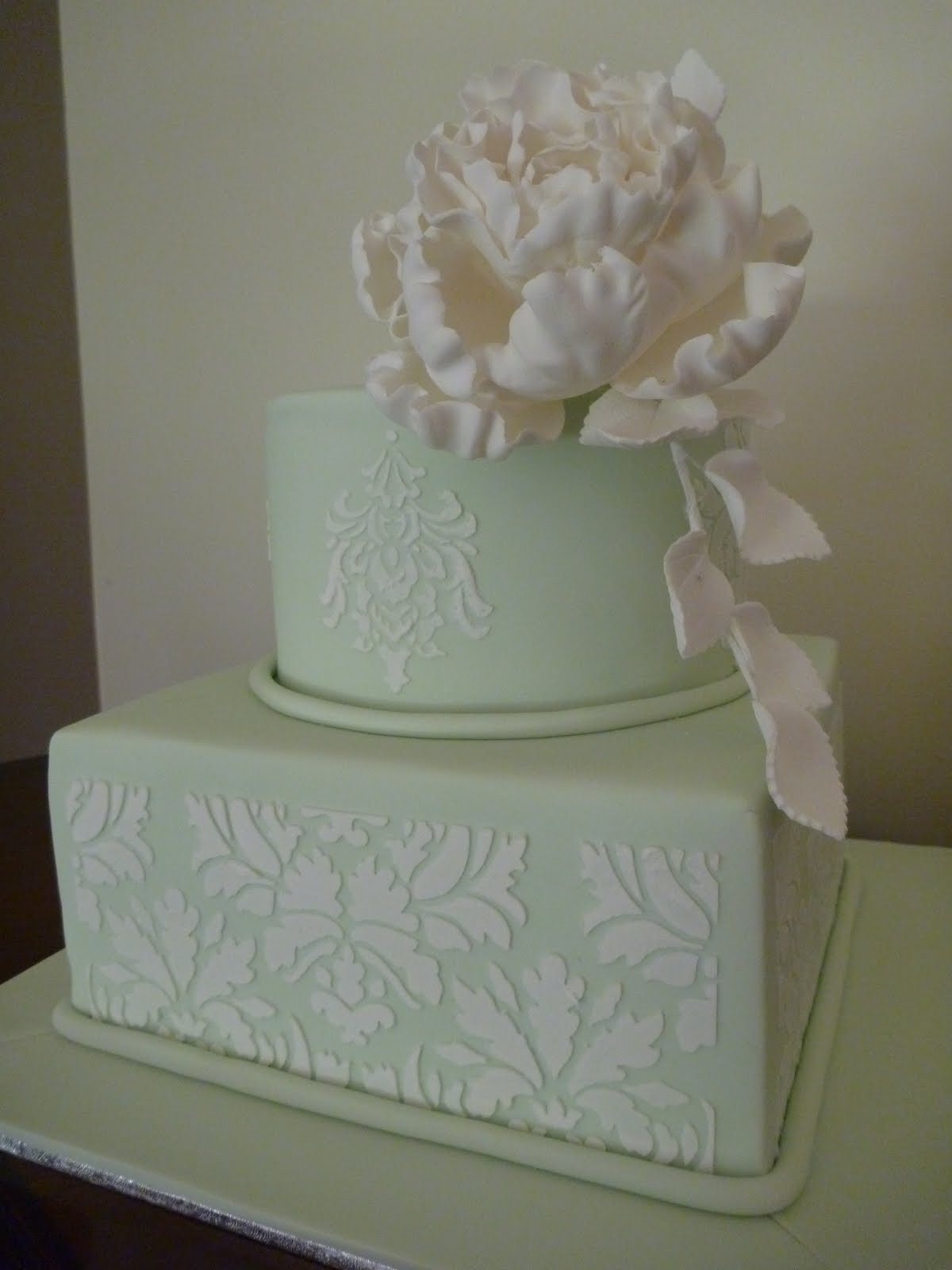Wedding Cakes 2 Tier  Love Cake 2 Tier Wedding Cake with Stencil and Sugar
