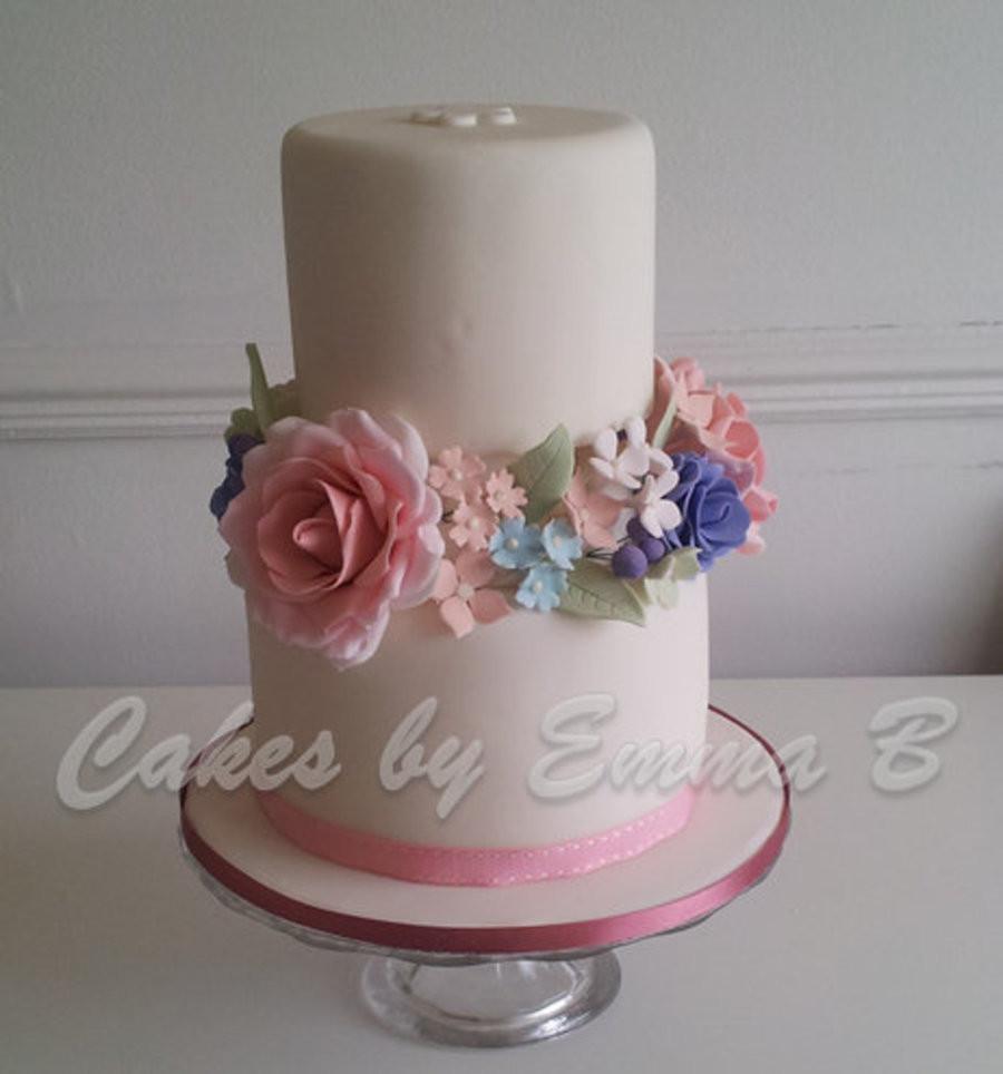 Wedding Cakes 2 Tier  Romantic Vintage Two Tier Wedding Cake CakeCentral