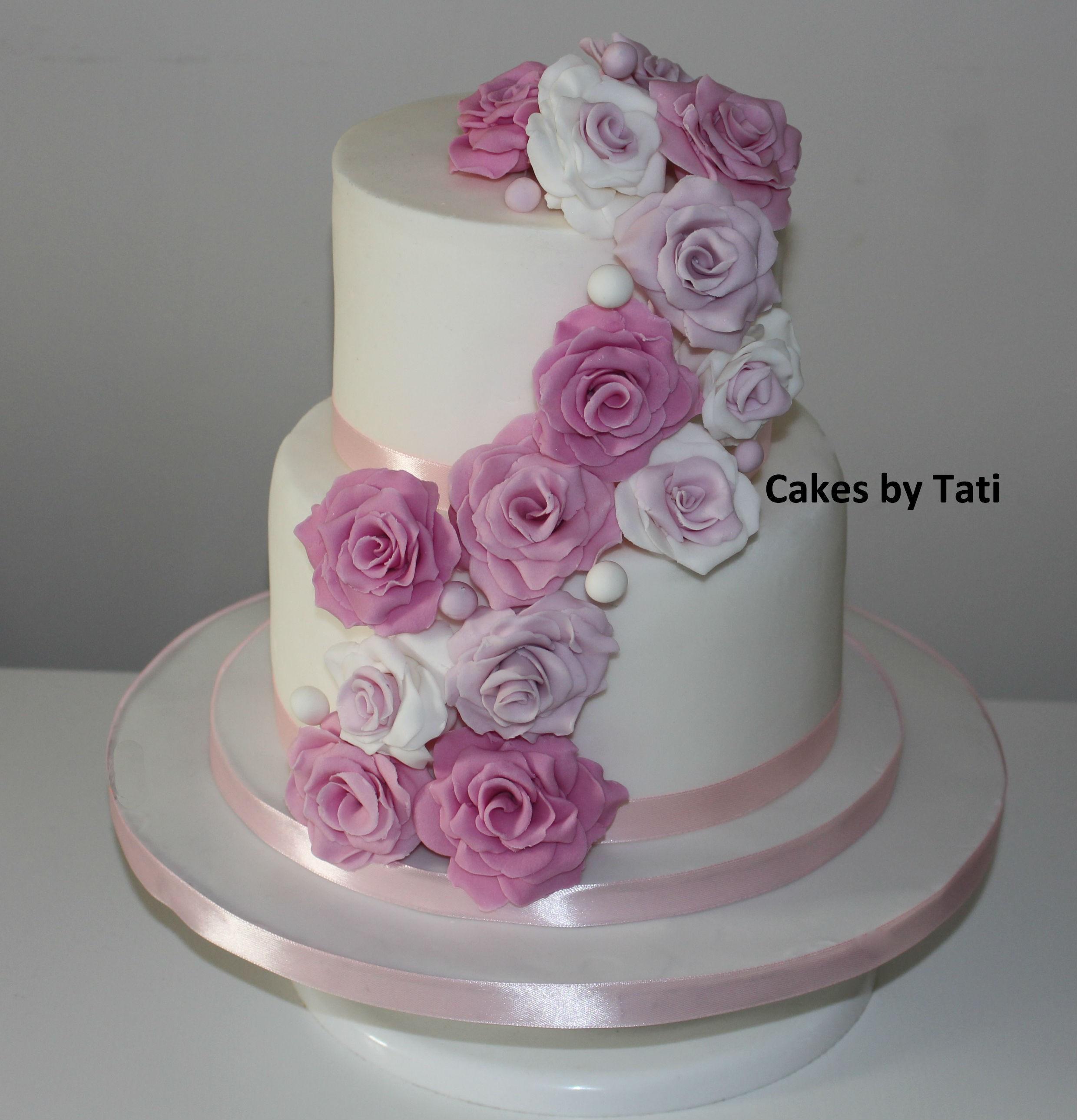 Wedding Cakes 2 Tier  2 TIER ROSE CASCADE WEDDING CAKE Wedding cakes GALLERY