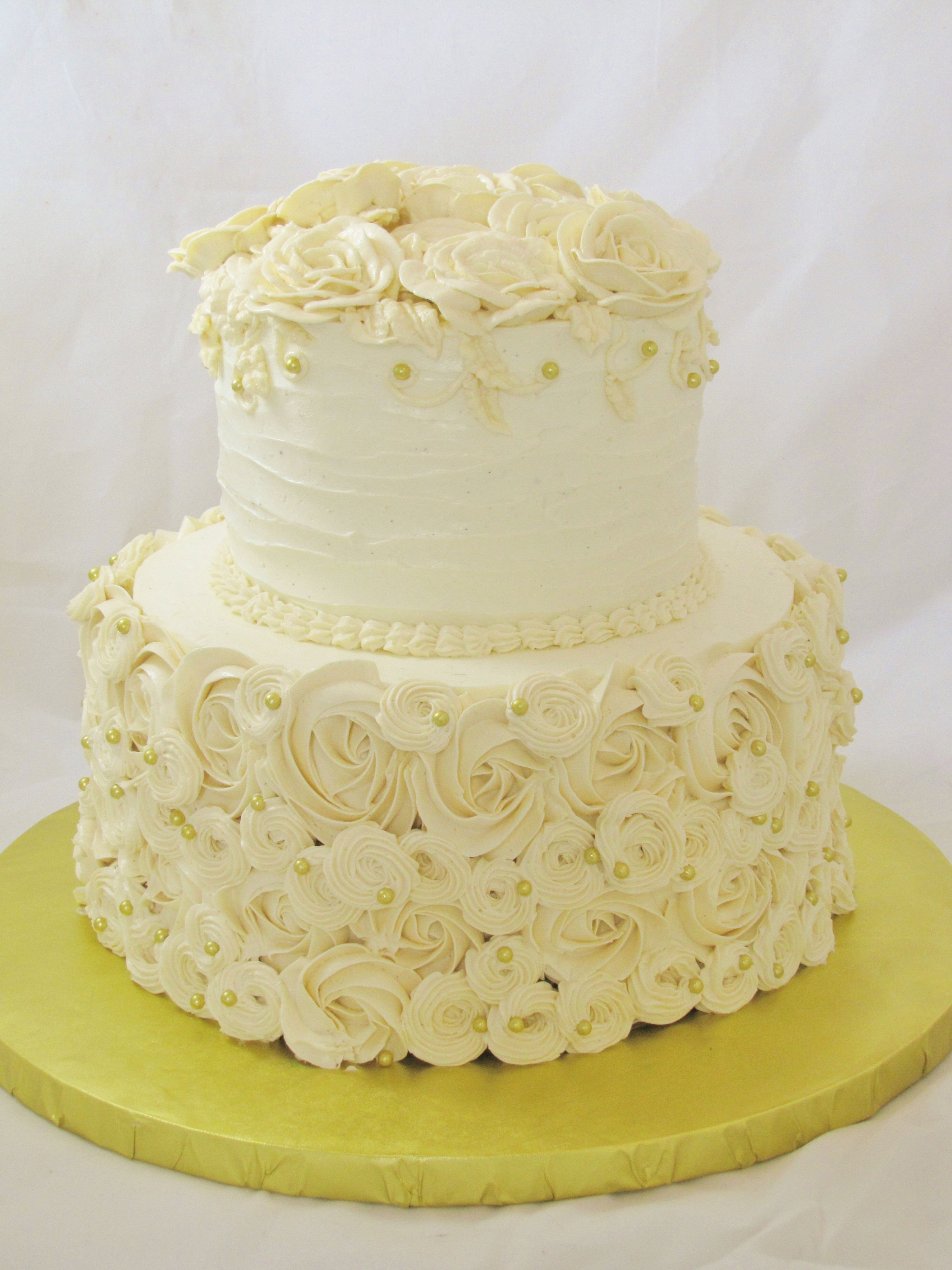 Wedding Cakes 2 Tier  Round Piped Buttercream Wedding Cake CakeCentral